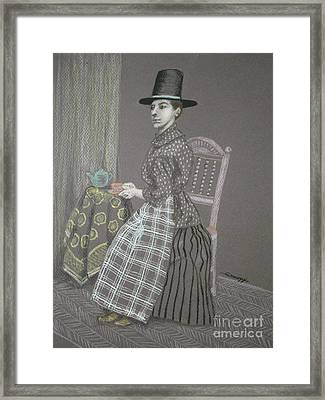 Dour Dower -- Portrait Of Welsh Woman In 1885 Framed Print