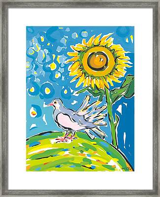 Dove And Sunflower Framed Print by Sarah Gillard