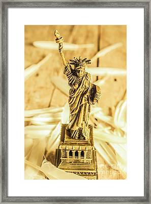 Dove Feathers And American Landmarks Framed Print