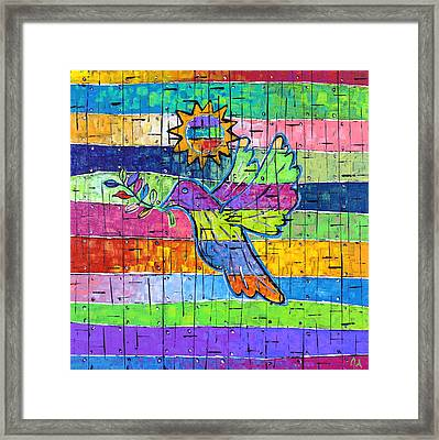 Dove Of Peace, Color And Light Framed Print by Jeremy Aiyadurai