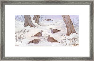 Doves In New York - Winter Framed Print by Anna Folkartanna Maciejewska-Dyba