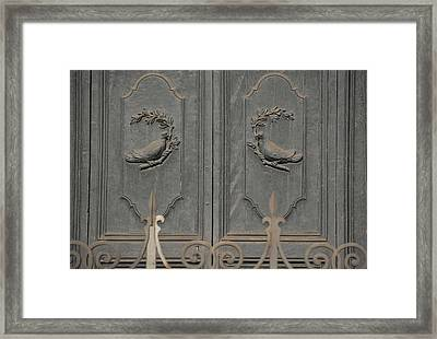 Doves On The Doorway Framed Print by JAMART Photography