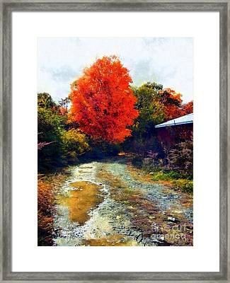 Framed Print featuring the photograph Down A Country Road - Autumn by Janine Riley
