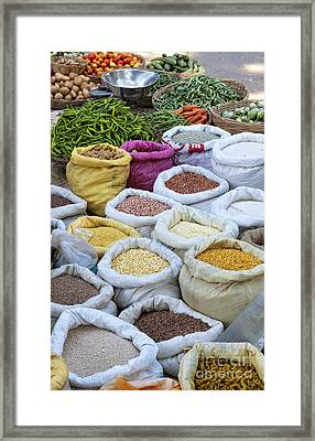 Down At The Market Framed Print