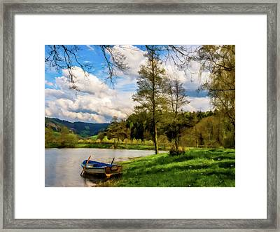 Framed Print featuring the photograph Down By The Lake Photodigitalpainting by David Dehner