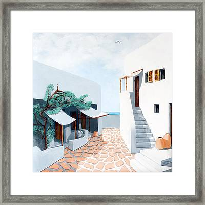 Down By The Sea In Mykonos, Original Oil Painting Available And Prints Framed Print by Mary Grden Fine Art Oil Painter Baywood Gallery