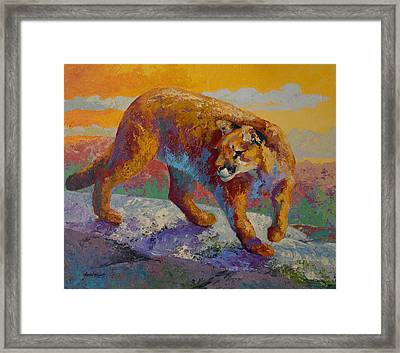 Down Off The Ridge - Cougar Framed Print by Marion Rose