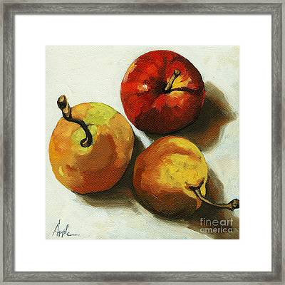 Down On Fruit - Pears And Apple Still Life Framed Print