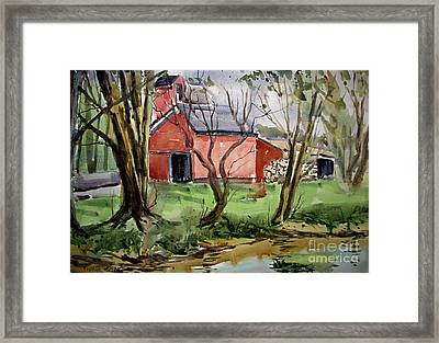 Down On Pipe Creek Plein Air Matted Glassed Framed Framed Print by Charlie Spear