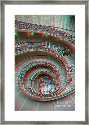 Down Stairs Anaglyph 3d Framed Print by Stefano Senise