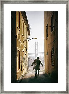 Down The Alley Framed Print by Carlos Caetano