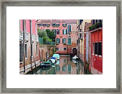 Down The Canal View Framed Print by Frozen in Time Fine Art Photography
