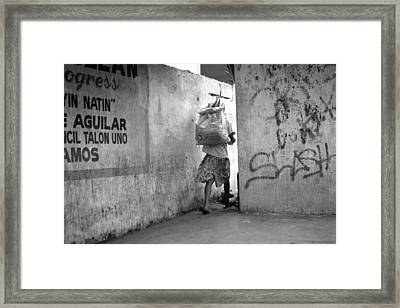 Down The Cut Through Framed Print by Jez C Self