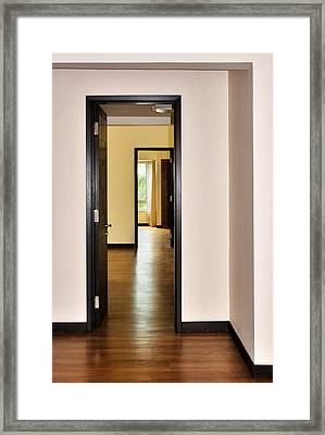 Down The Hall Framed Print by Louise Heusinkveld