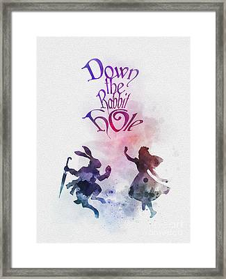 Down The Rabbit Hole Framed Print by Rebecca Jenkins