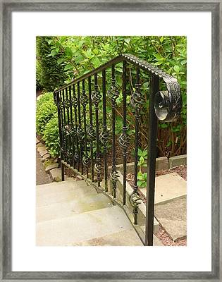 Down The Railing Framed Print