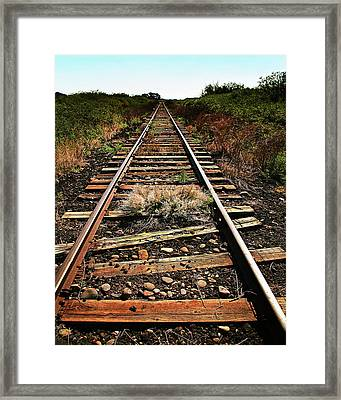 Down The Rails, Sepia Framed Print