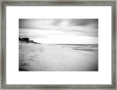 Down The Shore In Black And White - Jersey Shore Framed Print