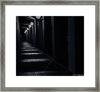 Down The Walkway Framed Print
