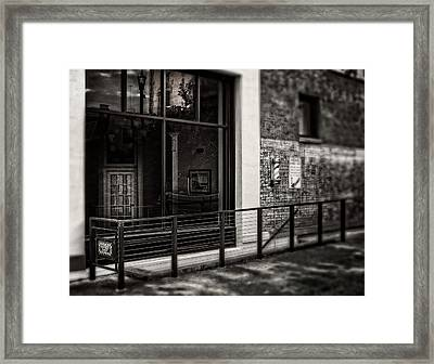 Framed Print featuring the photograph Down To The Barber Shop In Black And White by Greg Mimbs