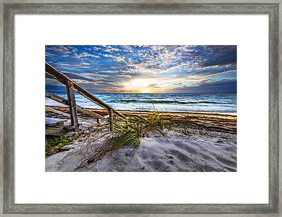 Down To The Shore Framed Print by Debra and Dave Vanderlaan