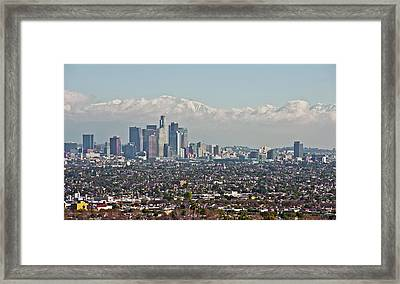 Down Twon Los Angeles In Winter Framed Print