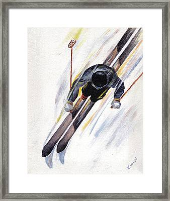 Downhill Skier Framed Print by Robin Wiesneth