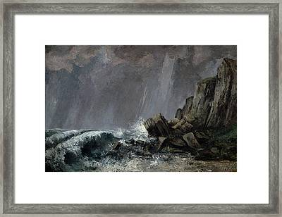 Downpour At Etretat  Framed Print by Gustave Courbet