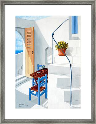 Downstairs In Santorini - Prints Of Original Oil Painting Framed Print by Mary Grden Fine Art Oil Painter Baywood Gallery