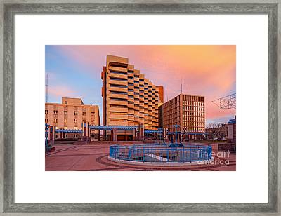 Downtown Albuquerque Harry E. Kinney Civic Plaza And Bernalillo County Clerk Office - New Mexico Framed Print by Silvio Ligutti