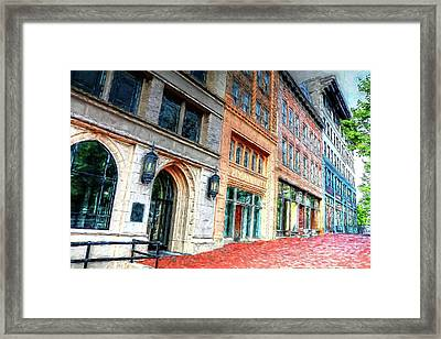 Downtown Asheville City Street Scene II Painted Framed Print