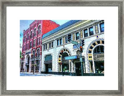 Downtown Asheville City Street Scene Painted  Framed Print