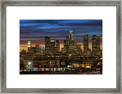 Downtown At Dusk Framed Print by Shabdro Photo