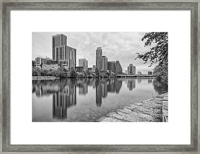 Downtown Austin In Black And White Across Lady Bird Lake - Colorado River Texas Hill Country Framed Print