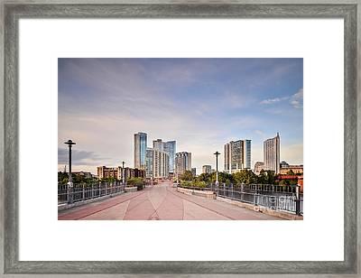 Downtown Austin Skyline From Lamar Street Pedestrian Bridge - Texas Hill Country Framed Print