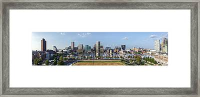 Downtown Baltimore Cityscape - Pano Framed Print