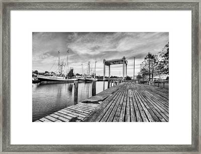 Downtown Bayou La Batre Black And White Framed Print by JC Findley
