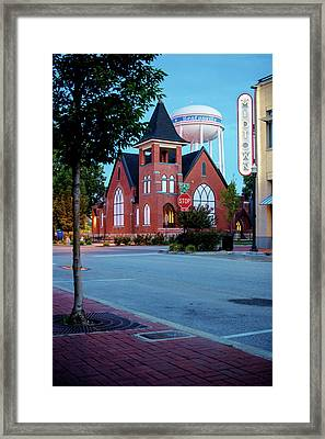 Downtown Bentonville Cityscape Framed Print by Gregory Ballos