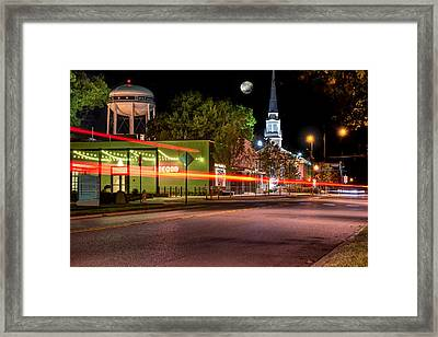 Downtown Bentonville Under A Full Moon Framed Print
