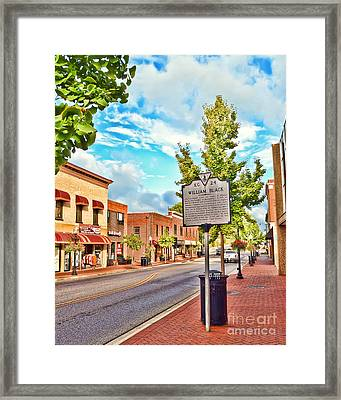 Downtown Blacksburg With Historical Marker Framed Print by Kerri Farley