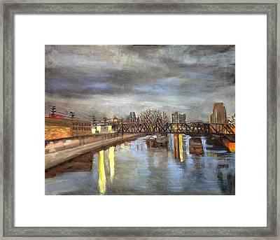 Downtown Bridge Framed Print by Mary Marin