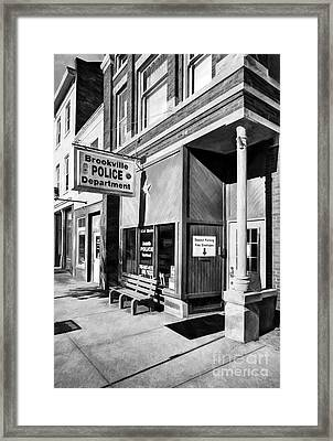 Downtown Brookville Indiana Black And White Framed Print