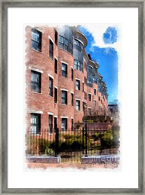 Downtown Burlington Vermont Watercolor Framed Print by Edward Fielding