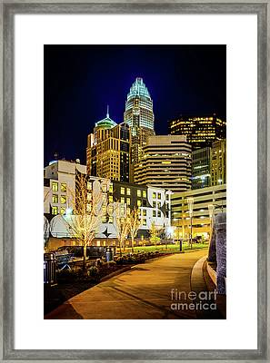 Downtown Charlotte Bearden Park At Night Framed Print by Paul Velgos