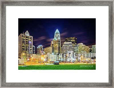 Downtown Charlotte North Carolina City At Night Framed Print by Paul Velgos