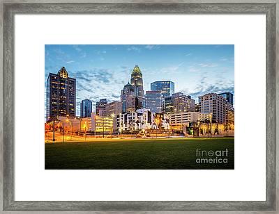 Downtown Charlotte Skyline At Dusk Framed Print by Paul Velgos