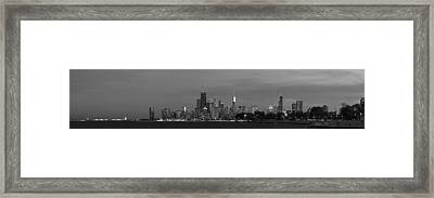Downtown Chicago In Black And White Framed Print