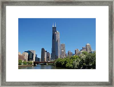 Downtown Chicago Skyline - View Along The River Framed Print by Suzanne Gaff