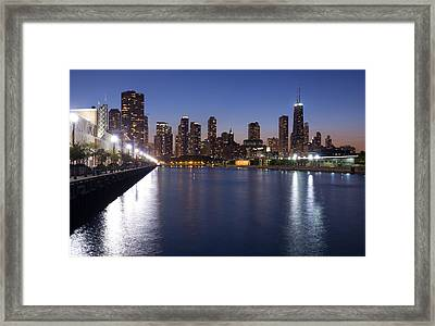 Downtown Chicago Skylinr From Navy Pier Framed Print