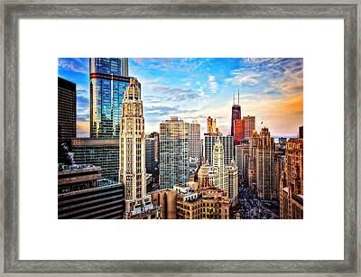 Downtown Chicago Sunset Framed Print by Jennifer Rondinelli Reilly - Fine Art Photography